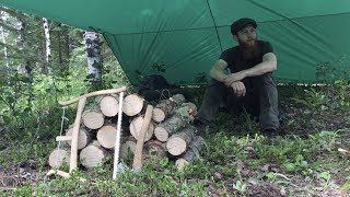 3 Days Solo Bushcraft - Campfire Cooking, Pipe Carving, Bench, Raised Bed + More