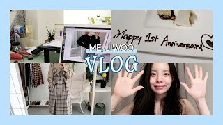 [JIWOO VLOG]  Jiwoo's first daily vlog | shopping mall task | a hard-eating weekend date
