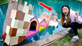 BOX FORT CASTLE ON WATER!! (MONSTER IN POND)