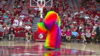 Human size rainbow slinky performing at halftime.