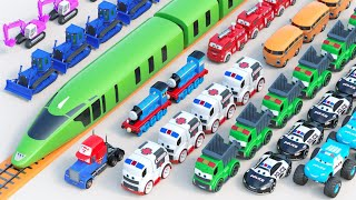 Big Toy Train And Truck Transporting Street Vehicles | Garage Car Parking for Street Vehicles Toys