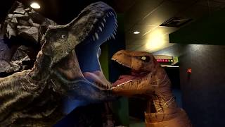 Jurassic World Fallen Kingdom see it in an T-rex costume and does the shoot dance!