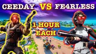 1 Hour of Ceeday *VS* 1 Hour of Fe4RLess (Fortnite Edition)