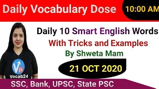 English Vocabulary | Daily English Words with Meaning | Antonyms | Synonyms | Example | 21 Oct 2020