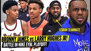 BRONNY JAMES VS. LARRY HUGHES JR WAS INTENSE! LEBRON FORMER CAVALIER TEAMMATE MEET IN NIKE PLAYOFFS!