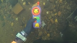 Found 2 Phones, Knife and Jewelry Underwater in River! (Scuba Diving) | DALLMYD