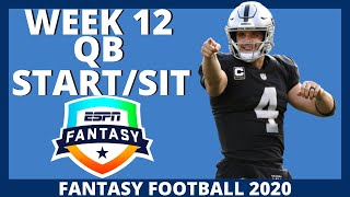 2020 Fantasy Football - Week 12 Quarterback - Start or Sit (Every Match Up)