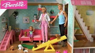 Barbie and Ken in Barbie House Story with Barbie Sister Chelsea Puppy Sitting and Barbie Ambulance