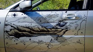 Russian Guy 'Fixes' Bump In Car With The Cunning Use Of A Sharpie....... INSIDE FACTS!
