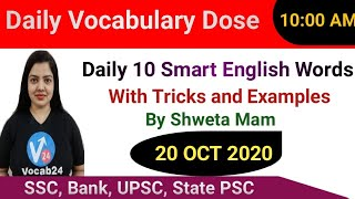 English Vocabulary | Daily English Words with Meaning | Antonyms | Synonyms | Example | 20 Oct 2020