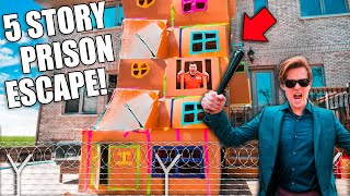 BIGGEST 5 STORY BOX FORT PRISON ESCAPE! 50FT TALL! SNEAKING By COPS 😱📦