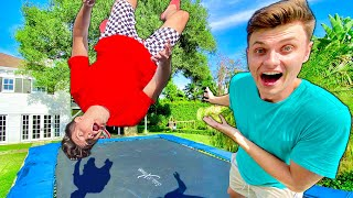TEACHING PRESTON HIS FIRST BACKFLIP!! (GONE WRONG)