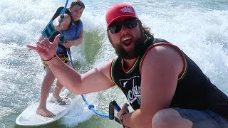 TEACHiNG OUR KiDS TO SURF!  EPiC DAY ON THE LAKE ☀️ Part 2