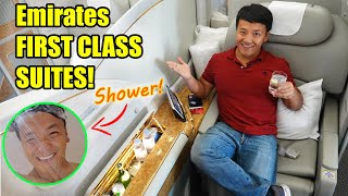 Emirates FIRST CLASS Suites! SHOWER & FOOD REVIEW!