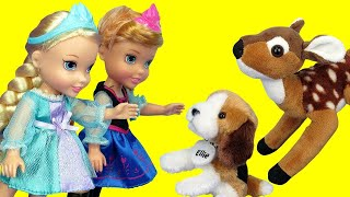 Elsa and Anna toddlers adopting a puppy in 2020