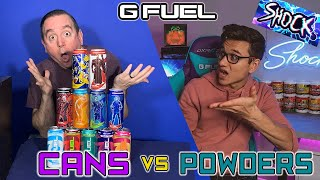 GFuel CANS Vs GFUEL Tubs; GFuel Collab and debate with Electric Shock! You decide who is right!