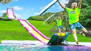 This is The World's FASTEST Backyard WaterSlide!! (World Record Broken)