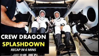 SpaceX Crew Dragon DEMO-2  Splashdown Recap in 6 mins - Bob Behnken and Doug Hurley Return from ISS.