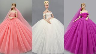 4 Gorgeous DIY Barbie Doll Dresses | Barbie Skirt & Glamorous Party Gown for Barbie