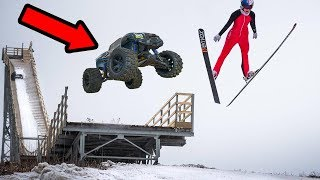 HUGE RC CAR VS OLYMPIC SKI JUMP!! (NOT CLICKBAIT)