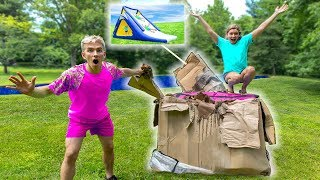 Building GIANT Inflatable Waterslide for Backyard Waterpark!! (Mystery Monster Spotted)
