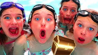 KIDS FIND GAME MASTER POOL MYSTERY BOX 24 hours in Swim pool using underwater lights | pool slept in